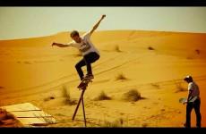 Skate session on sand dunes